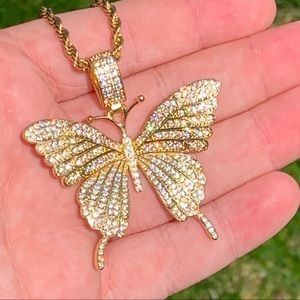 Other - Gold Butterfly Pendant + Rope Chain